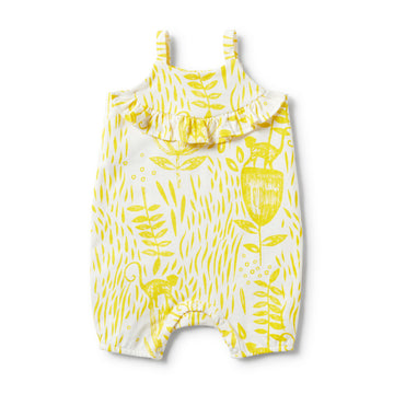 MELLOW YELLOW RUFFLE SINGLET STRAP PLAYSUIT-Wilson and Frenchy