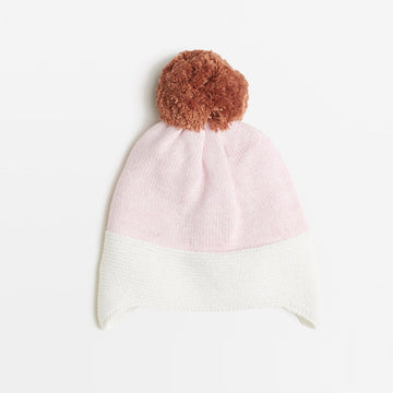 POWDER PINK/ TOFFEE KNITTED HAT - Wilson and Frenchy