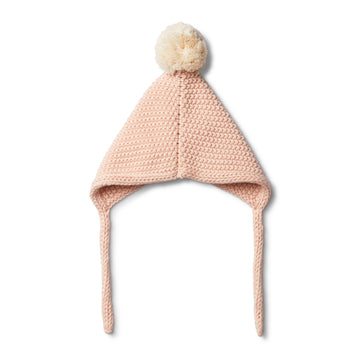 PEACHY PINK KNITTED BONNET - Wilson and Frenchy