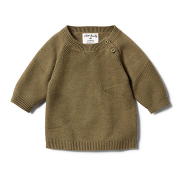 OLIVE JACQUARD KNITTED JUMPER - Wilson and Frenchy