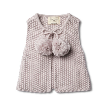 FAWN KNITTED VEST WITH POM POMS - Wilson and Frenchy
