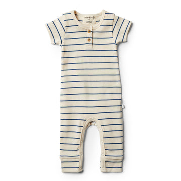 Organic Deep Blue Stripe Growsuit