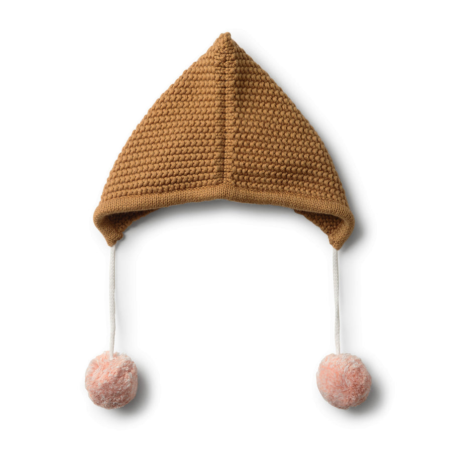 CARAMEL KNITTED BONNET - Wilson and Frenchy