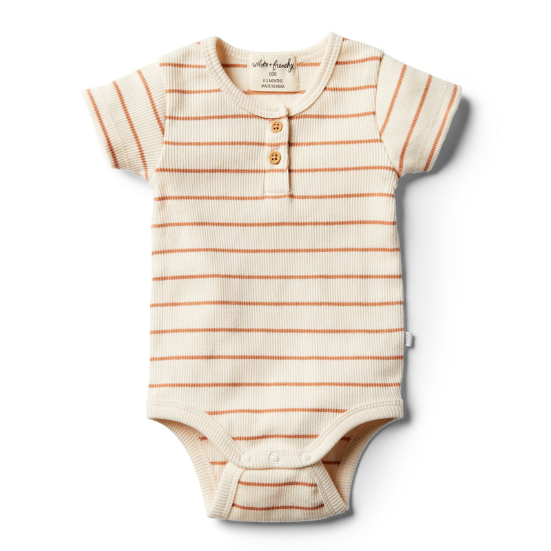Organic Toasted Nut Stripe Bodysuit - Wilson and Frenchy