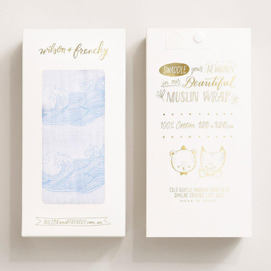 ROLLING TIDES MUSLIN WRAP-MUSLIN WRAP-Wilson and Frenchy