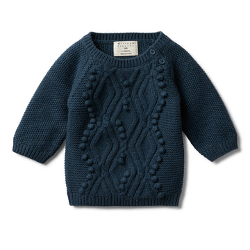 MAJOLICA BLUE CABLE KNITTED POM POM JUMPER - Wilson and Frenchy
