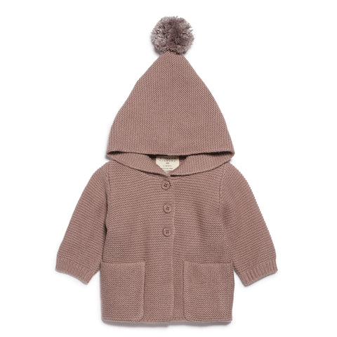 WOOD KNITTED JACKET WITH HOOD