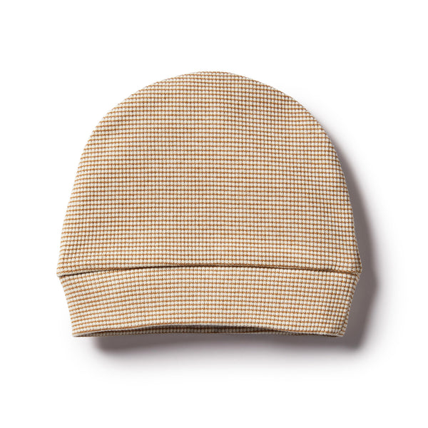 ECRU & CARAMEL STRIPE RIB BEANIE - Wilson and Frenchy