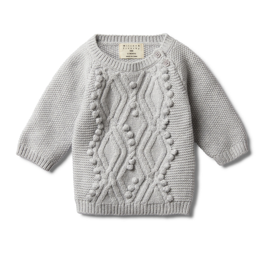GREY MELANGE CABLE KNITTED POM POM JUMPER - Wilson and Frenchy