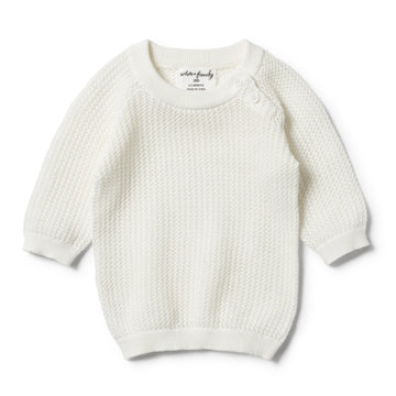 ECRU MESH SUMMER KNIT RAGLAN-JUMPER-Wilson and Frenchy