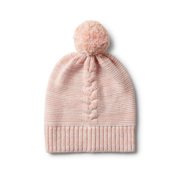 STRAWBERRY & CREAM KNIT HAT WITH POM POM