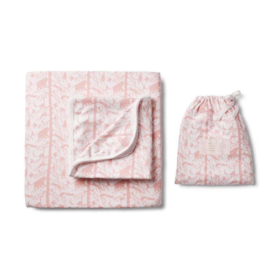 PINK ADVENTURE AWAITS BASSINET SHEET SET-Wilson and Frenchy