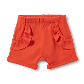 HOT CORAL RUFFLE POCKET SHORTS - Wilson and Frenchy