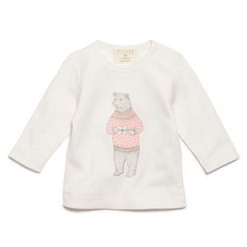 PINK HELLO BEAR LONG SLEEVE TOP - Wilson and Frenchy