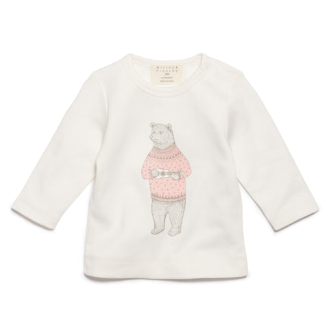 PINK HELLO BEAR LONG SLEEVE TOP