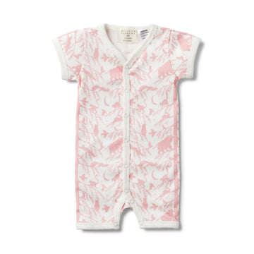 PINK ADVENTURE AWAITS SHORT SLEEVE OPEN FRONT GROWSUIT - Wilson and Frenchy