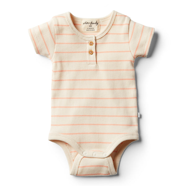 Organic Peach Pearl Stripe Bodysuit - Wilson and Frenchy