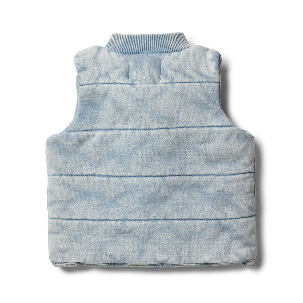 Shark Grey Denim Look Quilted Vest - Wilson and Frenchy