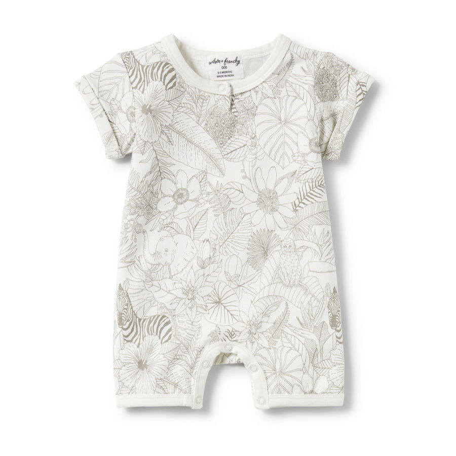 PEEKABOO PLACKET DETAIL BOYLEG GROWSUIT