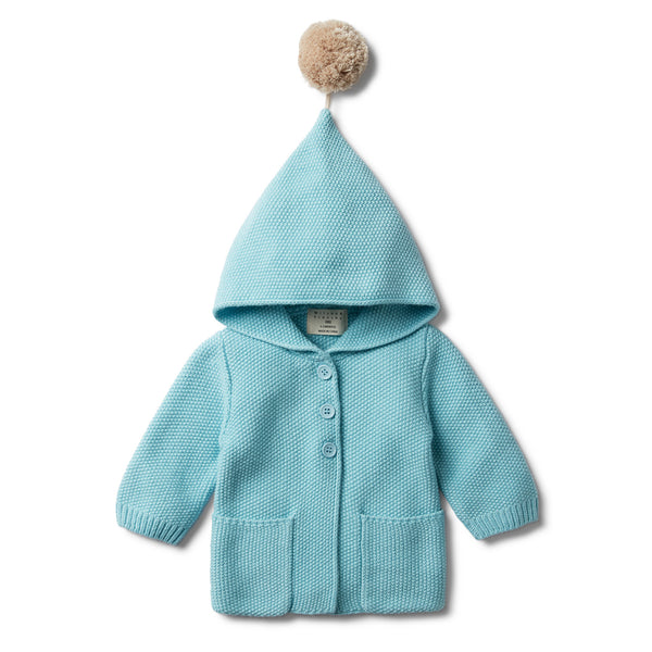PETIT BLUE HOODED JACKET WITH POM POM - Wilson and Frenchy