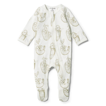 ORGANIC BABY SLOTH ZIPSUIT - Wilson and Frenchy