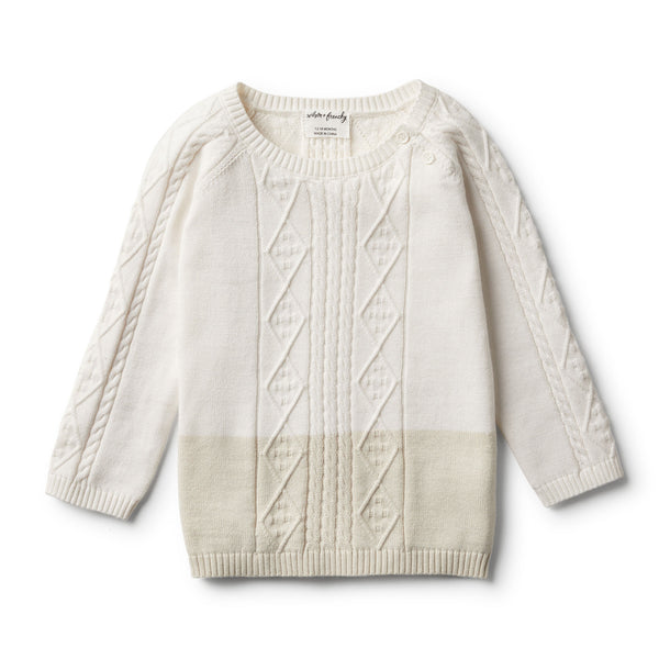 ECRU DIPPED CABLE KNIT JUMPER - Wilson and Frenchy