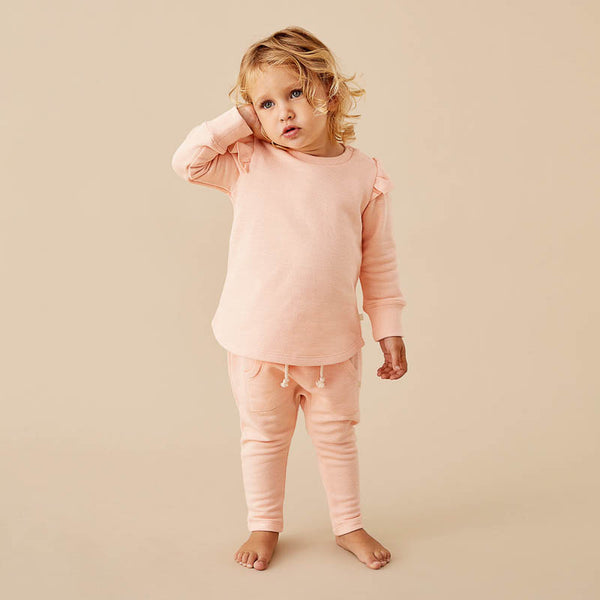 Tropical Peach Speckle Ruffle Sweat Top