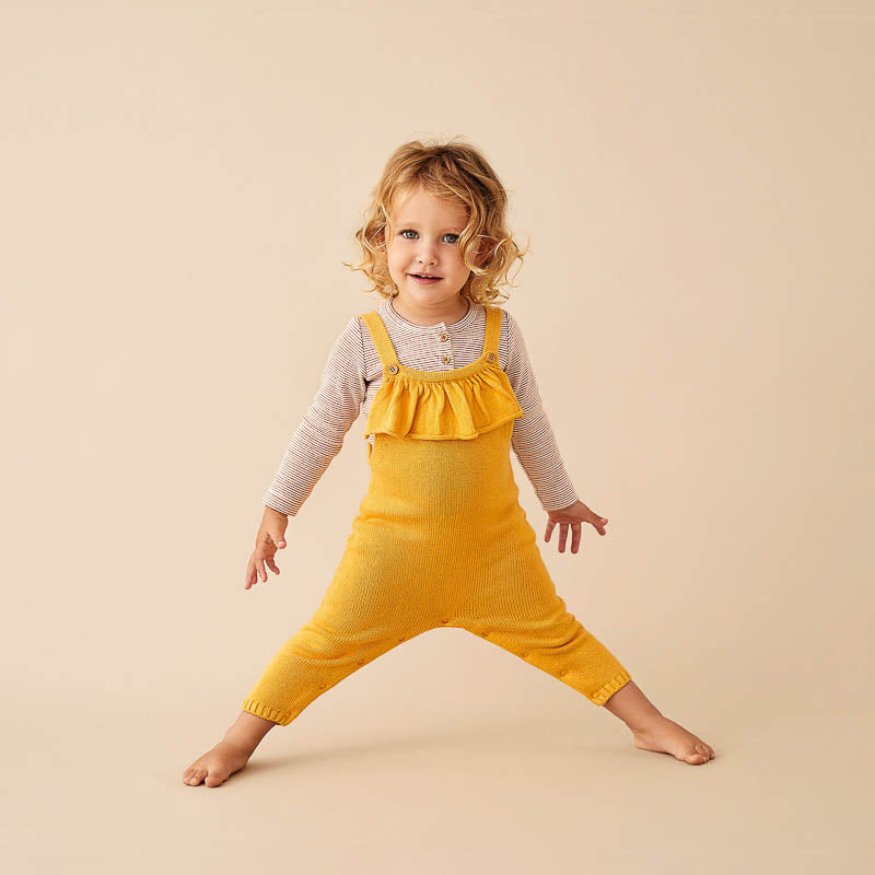 Golden Apricot Knitted Ruffle Overall