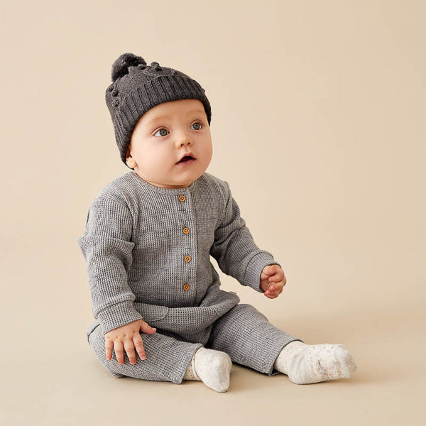 Cloud Grey Waffle Slouch Growsuit