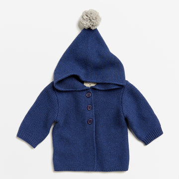 NAVY MELANGE KNITTED JACKET WITH HOOD-Wilson and Frenchy