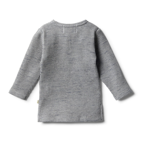 Cloud Grey Waffle Henley Top - Wilson and Frenchy