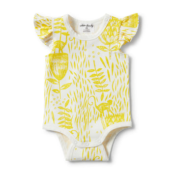 MELLOW YELLOW FLUTTER SLEEVE BODYSUIT-BODYSUIT-Wilson and Frenchy