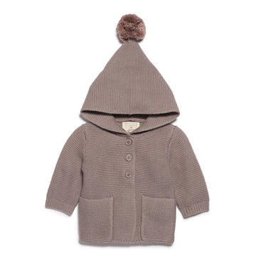 SMOKE GREY KNITTED JACKET WITH HOOD-Wilson and Frenchy