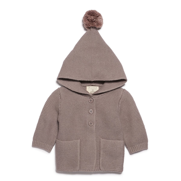 SMOKE GREY KNITTED JACKET WITH HOOD - Wilson and Frenchy