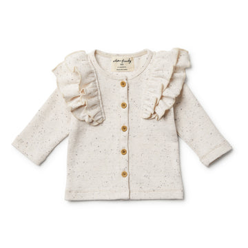 Fleck Cardigan with Ruffle