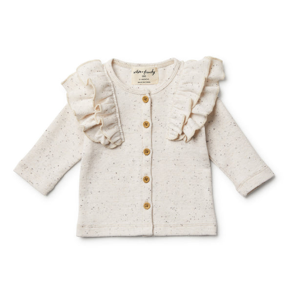 Fleck Cardigan with Ruffle - Wilson and Frenchy