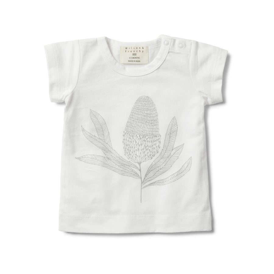 SHORT SLEEVE TEE WITH BANKSIA PRINT-T-SHIRT-Wilson and Frenchy