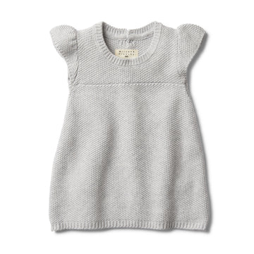 GREY MELANGE KNITTED DRESS-KNITTED DRESS-Wilson and Frenchy