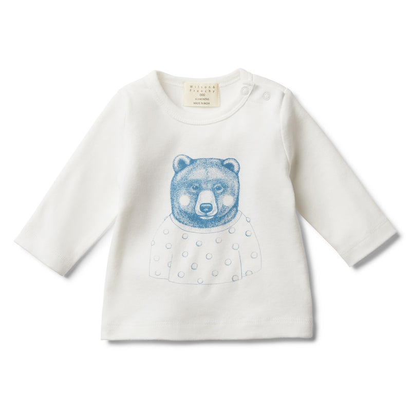 HELLO MR BEAR LONG SLEEVE TOP - Wilson and Frenchy