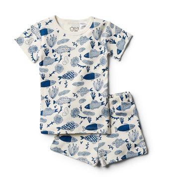 Organic Little Fin Short Sleeve Pajama Set