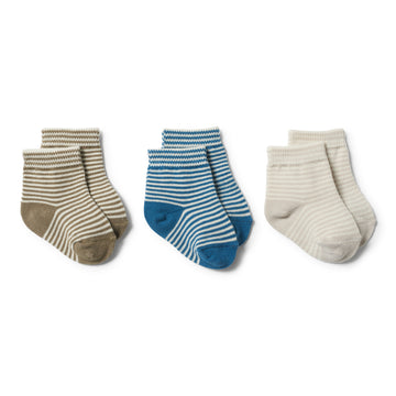 INK BLUE, OLIVE, EGGSHELL - 3 PACK BABY SOCKS - Wilson and Frenchy