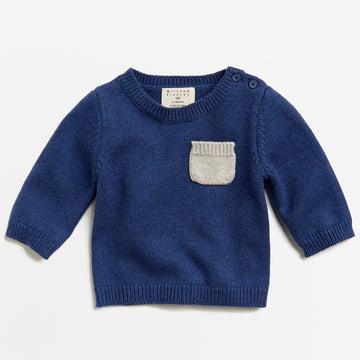 NAVY MELANGE KNITTED JUMPER WITH POCKET-Wilson and Frenchy