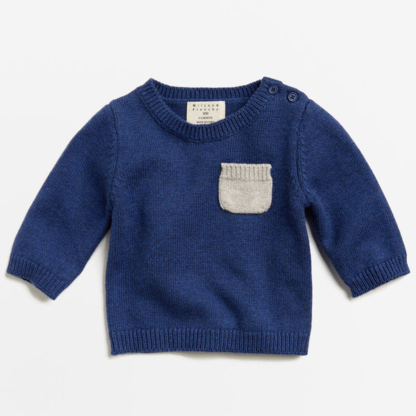 NAVY MELANGE KNITTED JUMPER WITH POCKET - Wilson and Frenchy