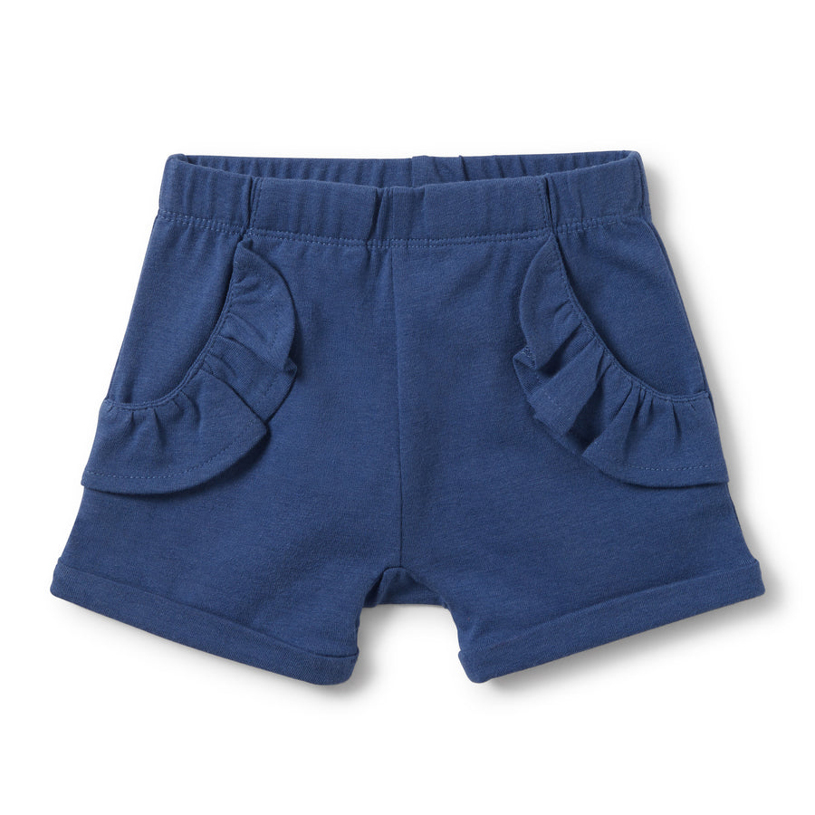TRUE NAVY RUFFLE POCKET SHORTS-SHORTS-Wilson and Frenchy