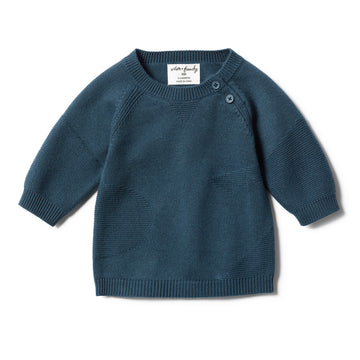 STEEL BLUE JACQUARD KNITTED JUMPER