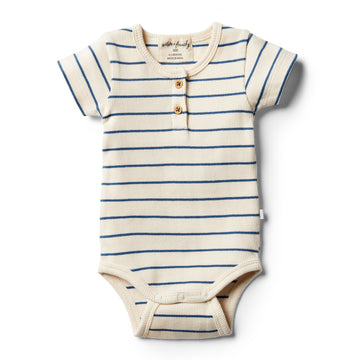 Organic Deep Blue Stripe Bodysuit