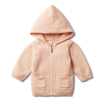 PEACHY PINK KNITTED ZIP THROUGH JACKET-Wilson and Frenchy
