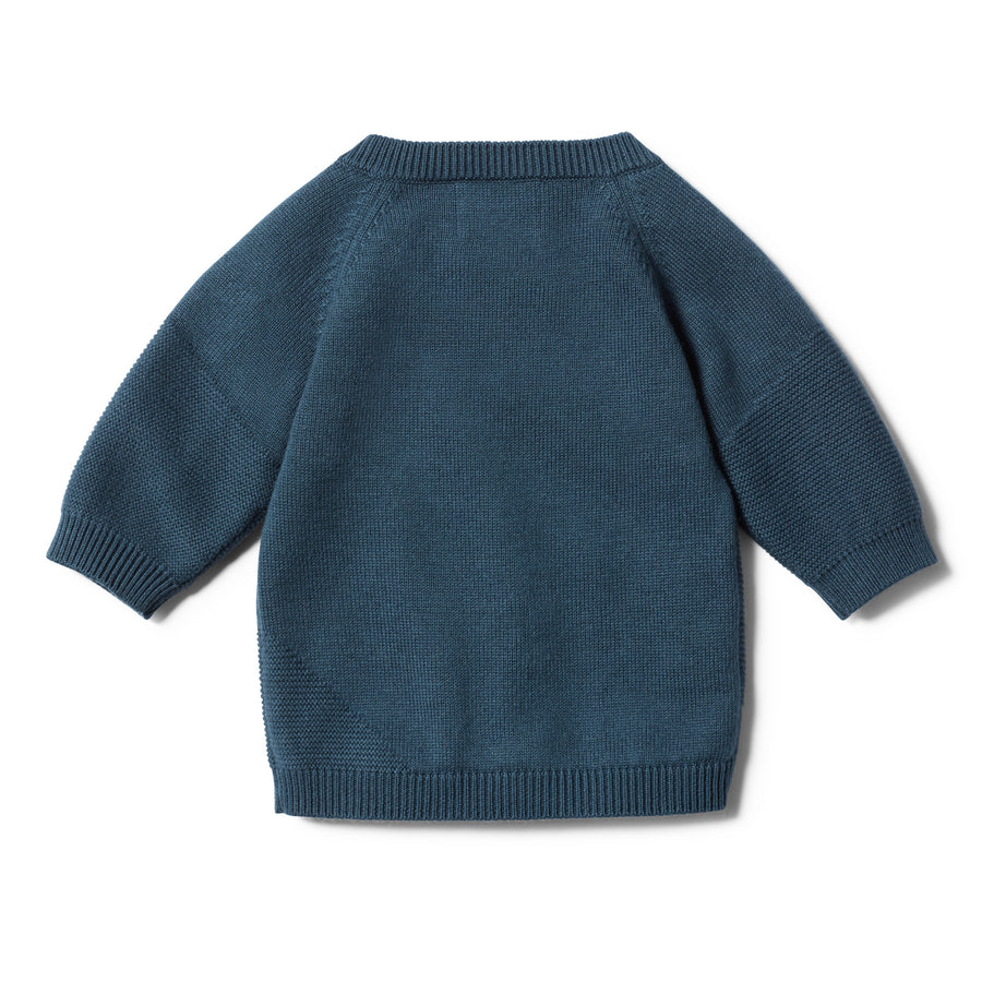 STEEL BLUE JACQUARD KNITTED JUMPER - Wilson and Frenchy