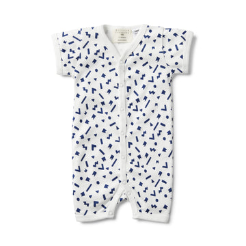GEO PLAY SHORT SLEEVE OPEN FRONT GROWSUIT-GROWSUIT-Wilson and Frenchy
