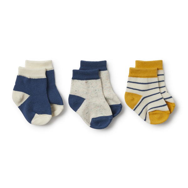 Jojoba, Deep Blue, Fleck 3 Pack Baby Socks - Wilson and Frenchy
